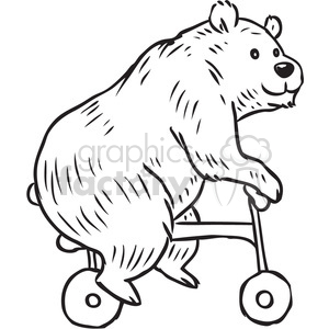bear riding a trike vector RF clip art images