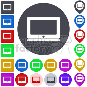laptop notebook screen flat tech pc personal computer wireless display button icon symbol sign set vector abstract app business collection colored colorful design graphic illustration button  laptop sign laptop symbol logo map navigation notebook computer notebook pictogram pin pointer square stamp template token ui icon+packs