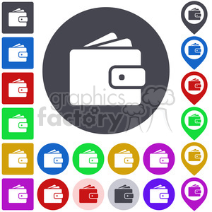 wallet pouch handbag glamour change wealth cash money finance fashion purse coin baggage case leather shop button icon symbol set vector abstract app business cash icons color colored colorful design flat geometric graphic interface internet logo map pictogram pin pointer square wallet button wallet vector sign symbol vector web icon+packs