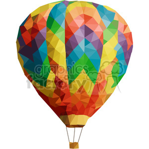 Hot Air Balloon geometry geometric polygon vector graphics RF clip art images clipart. Commercial use image # 397330