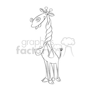 jeffery the cartoon giraffe character wearing a scarf black white clipart. Commercial use image # 397400