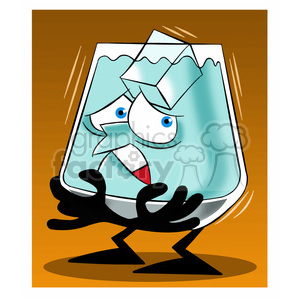 glass larry character mascot water drink beverage cold ice ice+cube ice+cubes