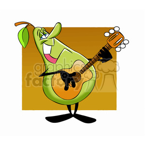 paul the cartoon pear character playing the guitar
