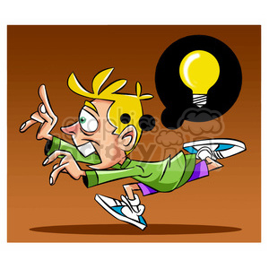 luke the teen cartoon character running with an idea clipart. Royalty-free image # 397450