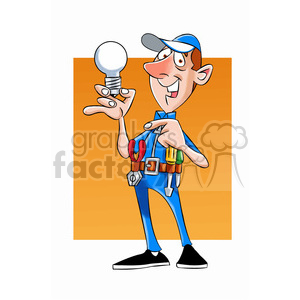 felix the cartoon handy man character holding a lightbulb clipart. Commercial use image # 397470