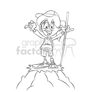 trina the cartoon girl character climbing a mountain black white clipart. Commercial use image # 397580