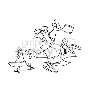 Chuck the cartoon butcher chasing a chicken black white clipart. Royalty-free image # 397590