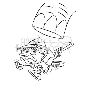 leo the cartoon safari character running from elephant black white clipart. Commercial use image # 397610