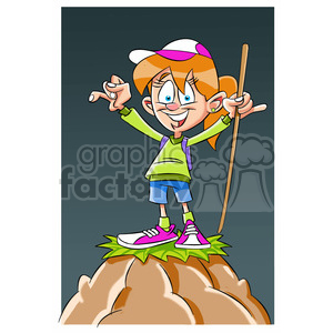 trina the cartoon girl character climbing a mountain clipart. Commercial use image # 397660