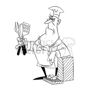 cartoon chef receiving gift black white clipart. Commercial use image # 397670