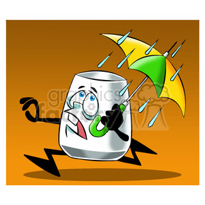 larry the cartoon glass character running from rain clipart. Royalty-free image # 397680