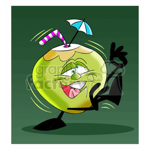 cartoon coconut character mascot charlie silly drunk clipart. Commercial use image # 397720