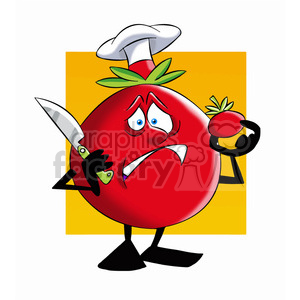 tom the cartoon tomato character not wanting to cut a tomato clipart. Commercial use image # 397730