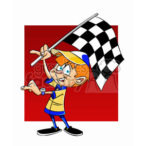 josh the cartoon character holding checkered flag clipart. Royalty-free image # 397800