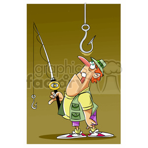 stan the cartoon fishing character watching a huge hook clipart. Commercial use image # 397910