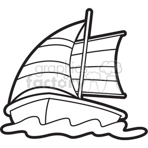vector cartoon sailboat outline clipart. Royalty-free image # 397928