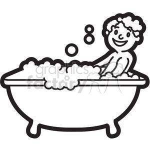 boy taking a bath black and white outline clipart. Royalty-free image # 397938