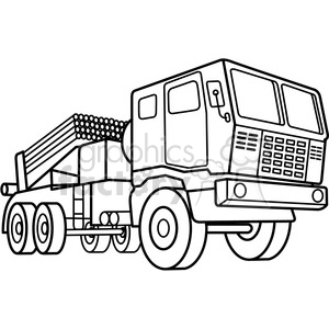 military armored mobile missle strick vehicle outline clipart. Commercial use image # 397998