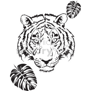 tiger head black and white clipart. Royalty-free image # 398018