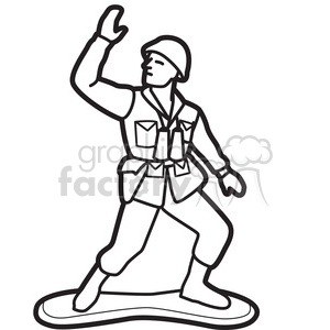 toy toys army man military soldier black+white outline