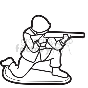 black white toy military soldier illustration graphic clipart. Commercial use image # 398048