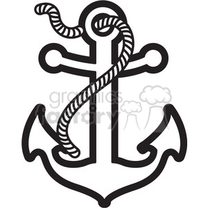 anchor with rope design tattoo illustration black white clipart. Royalty-free image # 398068