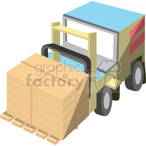 cartoon forklift with full load clipart. Royalty-free image # 398258