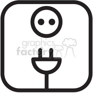 icons black+white vinyl+ready symbols outline energy cord electric power  volt voltage electricity