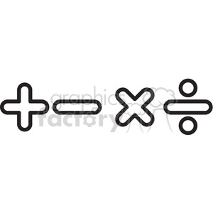 icon icons black+white outline symbols SM vinyl+ready math education minus addition division multiplication