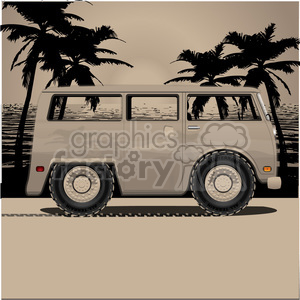 volkswagen bus van dusk on beach clipart. Royalty-free image # 398814