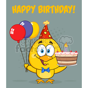 royalty free rf clipart illustration yellow chick cartoon character wearing a party hat and holding balloons and a birthday cake vector illustration greeting card clipart. Royalty-free image # 398879