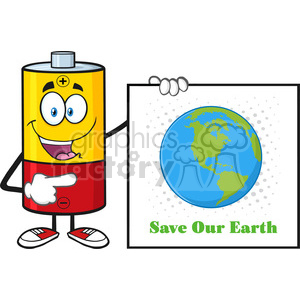 royalty free rf clipart illustration talking battery cartoon mascot character pointing to a sign save our earth vector illustration isolated on white clipart. Royalty-free image # 398889