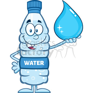 royalty free rf clipart illustration smiling water plastic bottle cartoon mascot character holding a water drop vector illustration isolated on white clipart. Commercial use image # 398908