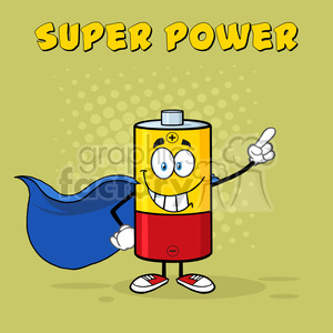 royalty free rf clipart illustration smiling battery cartoon mascot character super hero vector illustration poster with text super power and background