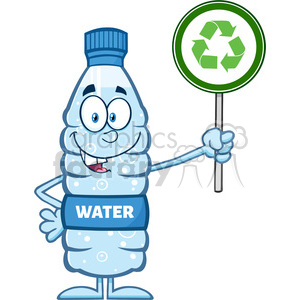 royalty free rf clipart illustration water plastic bottle cartoon mascot character holding up a recycle sign vector illustration isolated on white clipart. Royalty-free image # 398926