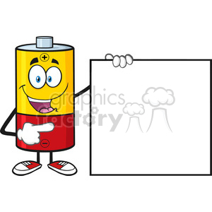 royalty free rf clipart illustration battery cartoon mascot character pointing to a blank sign vector illustration isolated on white clipart. Royalty-free image # 398936