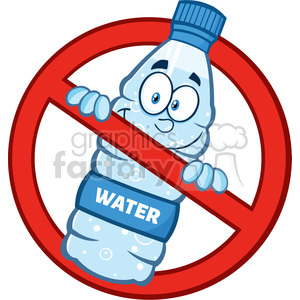 royalty free rf clipart illustration restricted symbol over a water plastic bottle cartoon imascot character vector illustration isolated on white clipart. Commercial use image # 398956