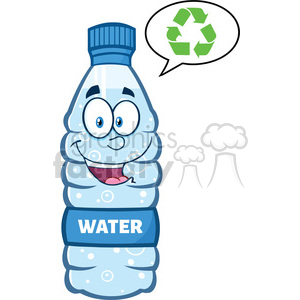 9362 royalty free rf clipart illustration smiling water plastic bottle cartoon mascot character speech bubble vector illustration isolated on white clipart. Royalty-free image # 398964