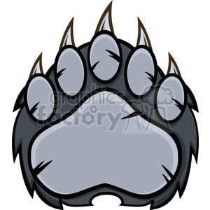 royalty free rf clipart illustration gray bear paw with claws vector illustration isolated on white clipart. Royalty-free image # 398974