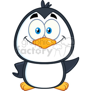 royalty free rf clipart illustration smiling cute penguin cartoon character waving vector illustration isolated on white