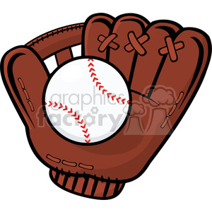 royalty free rf clipart illustration baseball glove and ball vector illustration isolated on white background clipart. Commercial use image # 398994
