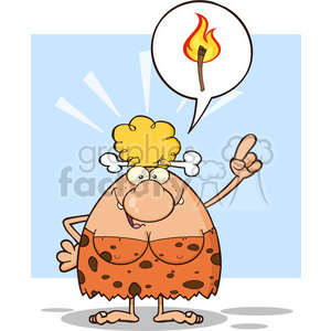 smiling cave woman cartoon mascot character with good idea vector illustration with speech bubble and fiery torch clipart. Royalty-free image # 399004