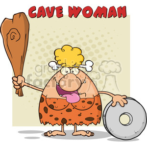 happy cave woman cartoon mascot character holding a club and showing whell vector illustration with text cave woman clipart. Commercial use image # 399014