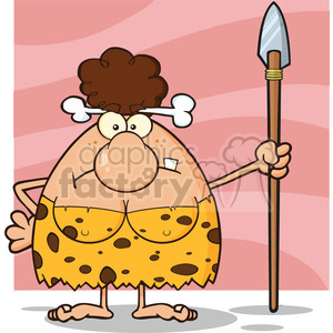 10024 angry brunette cave woman cartoon mascot character standing with a spear vector illustration clipart. Royalty-free image # 399044