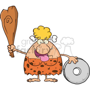 9995 happy cave woman cartoon mascot character holding a club and showing whell vector illustration clipart. Commercial use image # 399074