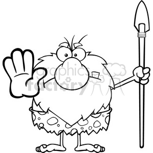 black and white angry male caveman cartoon mascot character gesturing and standing with a spear vector illustration clipart. Commercial use image # 399124