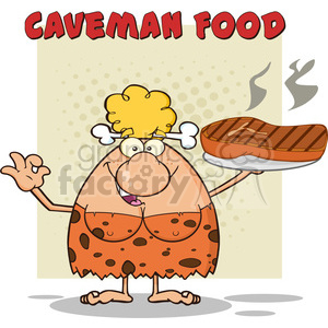chef cave woman cartoon mascot character holding a big steak and gesturing ok vector illustration with text caveman food clipart. Royalty-free image # 399134