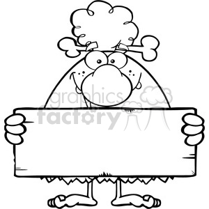 black and white funny cave woman cartoon mascot character holding a stone blank sign vector illustration clipart. Commercial use image # 399154