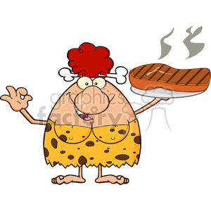 red hair cave woman cartoon mascot character holding up a platter with big grilled steak and gesturing ok vector illustration clipart. Commercial use image # 399164