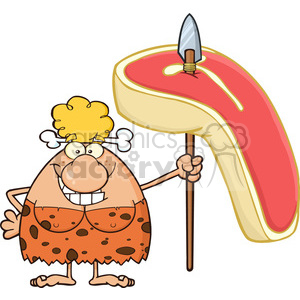 9971 smiling cave woman cartoon mascot character holding a spear with big raw steak vector illustration clipart. Commercial use image # 399184